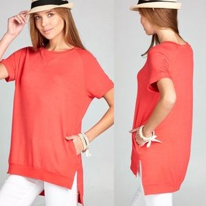Coral High Low Side Pocket Crewneck Tunic Top!